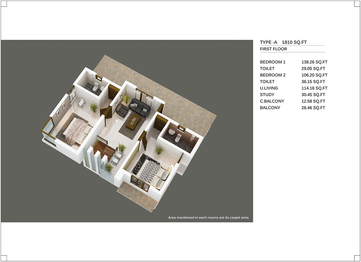 Type A 1810 Sq.Ft First Floor
